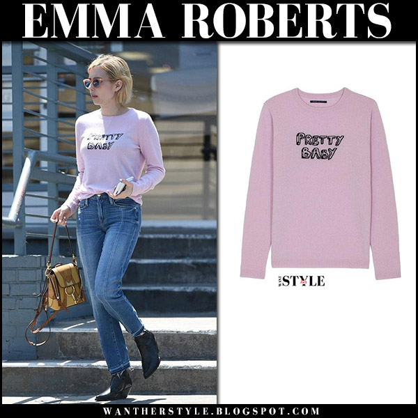 Emma Roberts in pink knit Pretty Baby sweater celebrities in j brand august 24 2017
