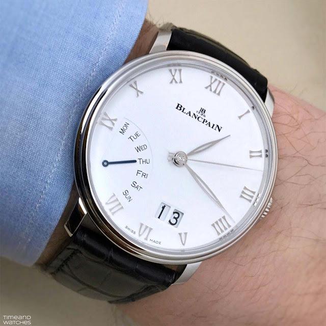 Wristshot of Blancpain Villeret Grande Date Jour Rétrograde