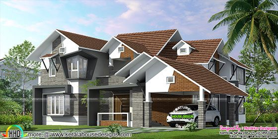 Sloping roof ultra modern home kerala home design and for Sloped roof house plans in india