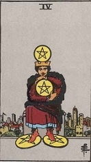 The Four of Pentacles, RWS