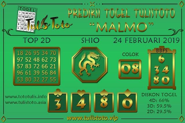 Prediksi Togel MALMO TULISTOTO 24 FEBRUARI 2019