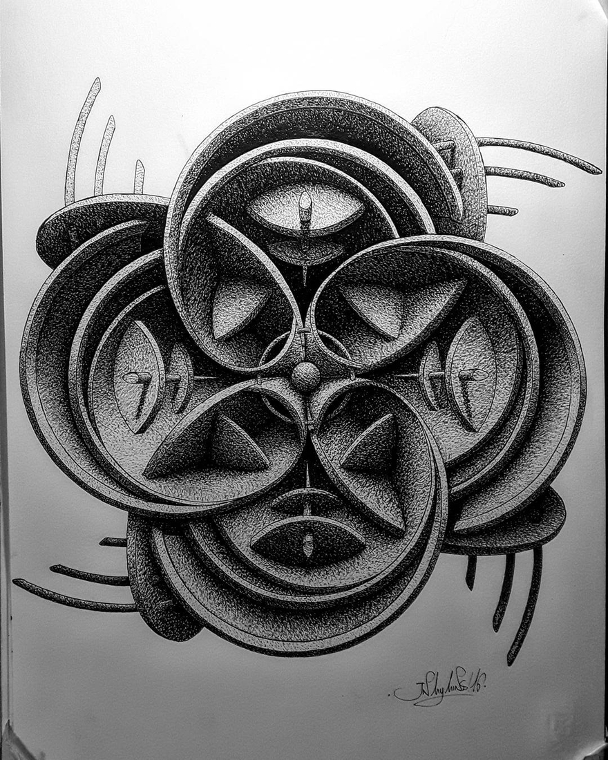05-in-my-mind-art-Complex-Geometric-shapes-in-Ink-Stippling-Drawings-www-designstack-co