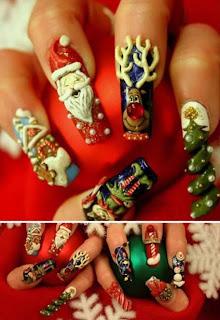 Diseño de uñas de uñas navideñas