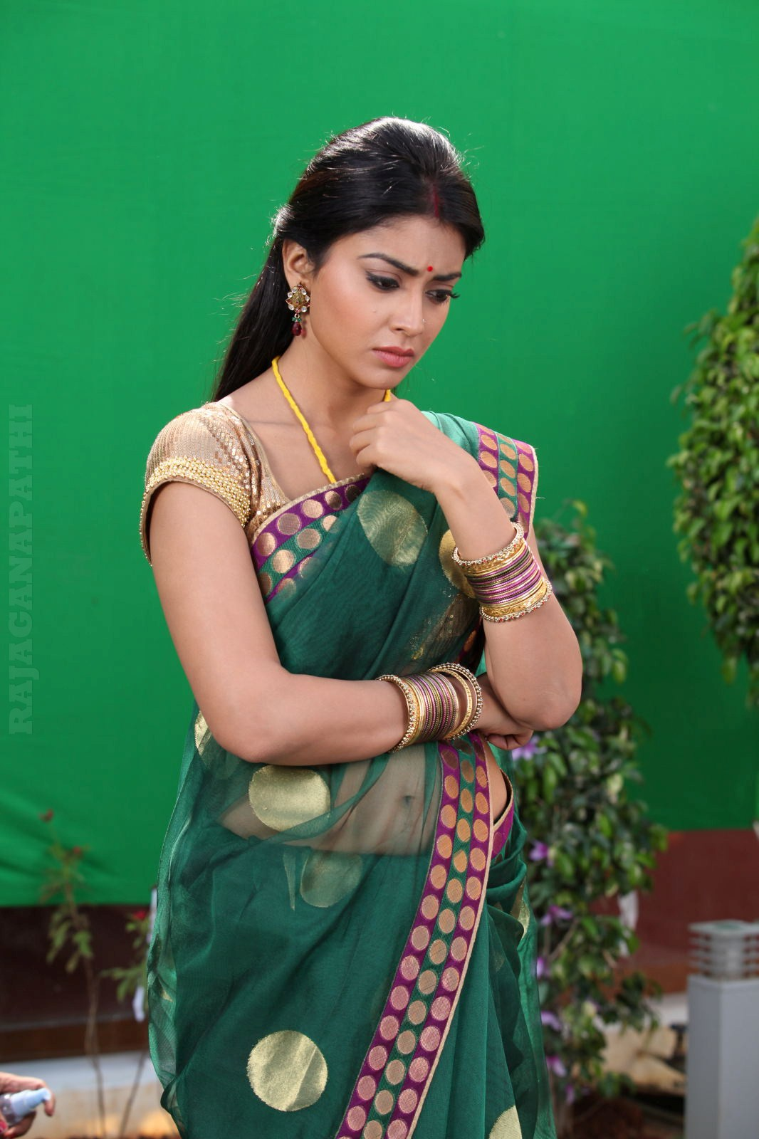 South Hot Actress Shriya Saran In Green Transparent Saree -8471