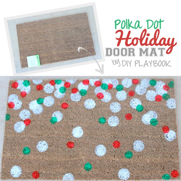 Love This Polka Dot Holiday Door Mat Tutorial! So Easy And Affordable!