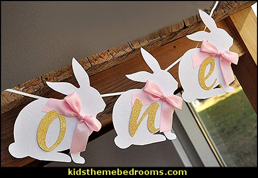 Bunny Banner. Pink and Gold First Birthday Party Decorations  Peter Rabbit party supplies - Peter Rabbit Party Ideas - Peter Rabbit Party Theme  decorations - Peter Rabbit birthday party decorations - Peter Rabbit spring garden party decorating - garden party - Carrots Chocolate Candy molds  -  Carrot cake cookie molds - flower decorations - bunny party sweets - bunny party supplies