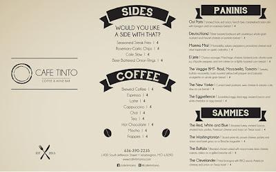 menu quán cafe bình dân