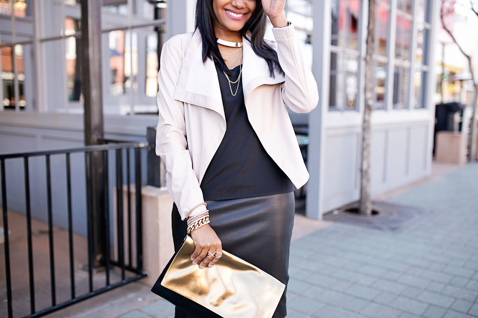 Leather jacket under 100 - Blush Pink Leather Jacket Zara Leather Pencil Skirt Look For Less Budget