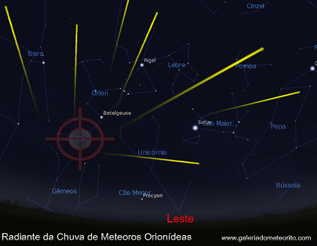 radiante da chuva de meteoros Orionidas 2016