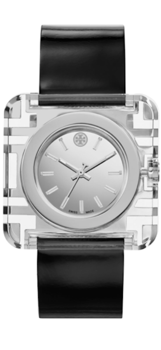 Tory Burch Watches Izzie Leather-Strap Stainless Steel Watch, Black
