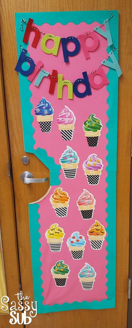 used space on my closet doors to create the display last year this switched out birthday cupcakes for ice cream cones also classroom reveal bold and brights collection sassy apple rh onesassysubspot
