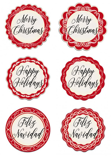 Printable Happy Holidays Mason Jar Lid Labels