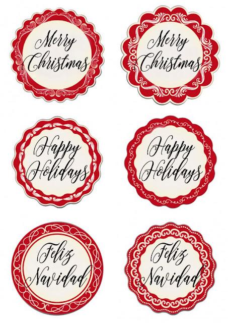 Printable Happy Holidays Mason Jar Lid Labels
