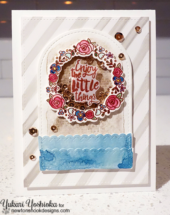Wreath shaker card by Yukari Yoshioka | Happy Little Thoughts Stamp set by Newton's Nook Designs #newtonsnook
