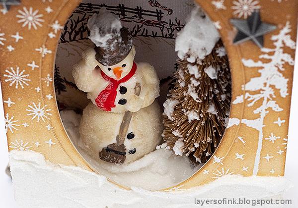 Layers of ink - Winter Wonderland Shadow Box Tutorial by Anna-Karin Evaldsson. Realistic DIY / handmade snow.