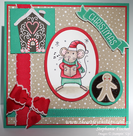 Stampin Up, #thecraftythinker, Holiday Catalogue Sneak Peek, Merry Mice, Christmas Card, Xmas card, Stampin Up Australia Demonstrator,