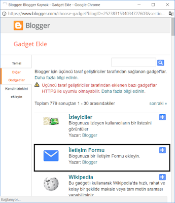 Blogger iletişim formu eklentisi ekleme