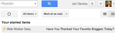 screen capture - Jeri Dansky's one starred item in her Google Reader