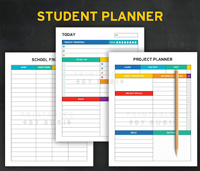 picture about Student Planner Printable called Printable Planner Inserts by means of Bubi: College student Planner