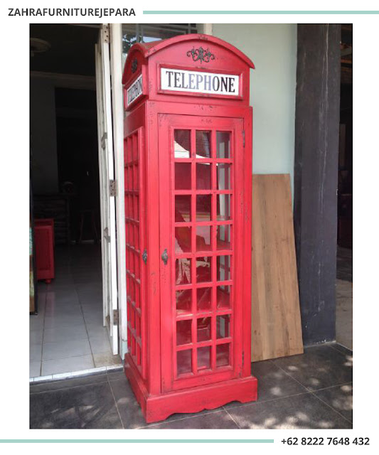 LEMARI TELEPHONE LONDON CAT DUCO WARNA MERAH