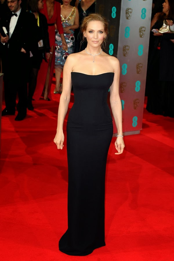 Uma Thurman Sizzles In Atelier Versace At The 2014 Baftas