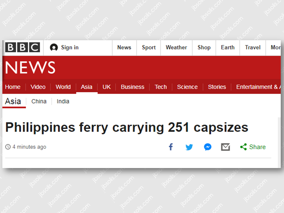 "A ferry with 251 people onboard had overturned in the east coast of the Philippines according to Philippine Coast Guard (PCG).  The incident has reported number of casualties. Huge waves had caused the boat to sustain a hole and capsized off  on a stormy seas.  Local boats have already rescued some passengers near Polilio island.  Rescue boats and helicopters are sent to the area but they cannot operate well due to the severe weather condition brought about by tropical typhoon Vinta.   Senior Supt. Rhoderick Armamento, Quezon police director, said most passengers of the MV Mercraft 3 bound for Polilio island have already been rescued and accounted for based on the passenger manifest but the information is still being validated.  Sponsored Links    Rescuers are still scouring the water in search of other possible passengers in spite of being hampered by strong winds and huge waves.      Coastguard said the ferry had not been overloaded based on the records shown in the manifesto. It has 251 passengers onboard way too short for its capacity of 286 people.      Tropical Storm with international name ""Tembin"" (Vinta) is being anticipated to make a landfall on Friday and people travelling home for Christmas had been advised to travel earlier than usual.  However, Quezon province is not within the path of the typhoon.   Source: BBC      UPDATE* Mercraft 3 incident has confirmed 4 passengers dead and 166 passengers rescued as the search and rescue operation by the Philippine Coast Guard continous.         Advertisement  Read More:                   ©2017 THOUGHTSKOTO"