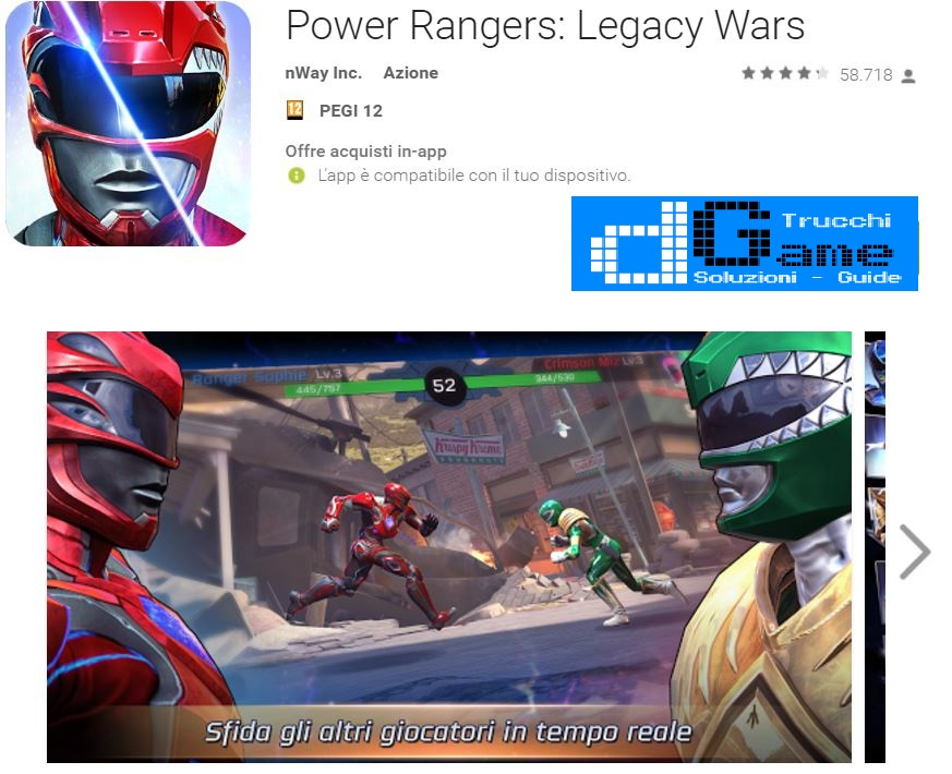 Trucchi Power Rangers: Legacy Wars Mod Apk Android v1.0.1