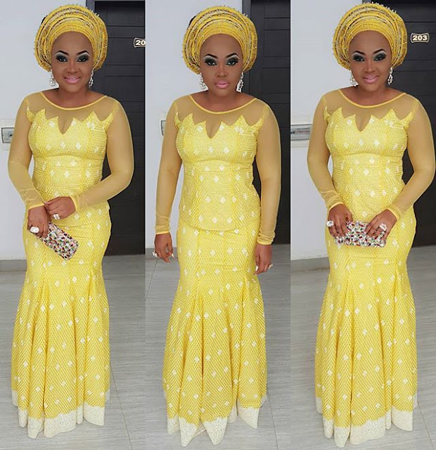 mercy aigbe on yellow dress.