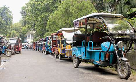 Totos lined up on a road in Siliguri