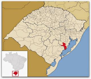 Cidade de Camaquã, no mapa do Rio Grande do Sul