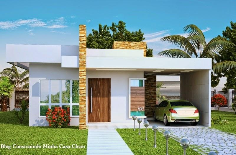Construindo minha casa clean fachadas de casas t rreas for Casa minimalista en una planta