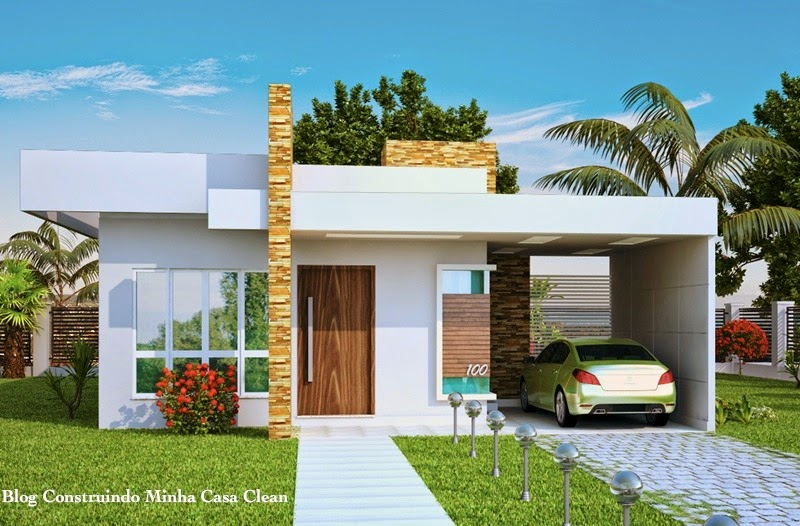 Construindo minha casa clean fachadas de casas t rreas for Casas minimalistas baratas