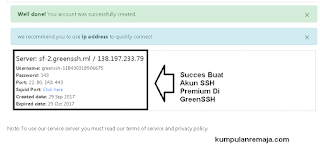 Succes Membuat AKun SSH Premium