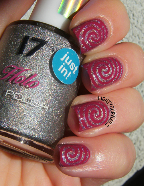 Holographic swirls with TNS Fuchsia and 17 Holo silver