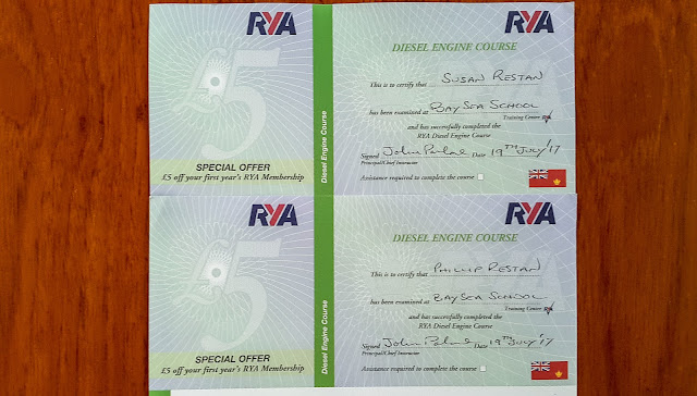 Photo of our diesel course certificates