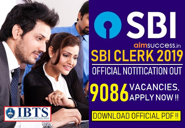 SBI Clerk Notification 2019 Out 9086 Vacancies, Apply Now!! Download PDF!