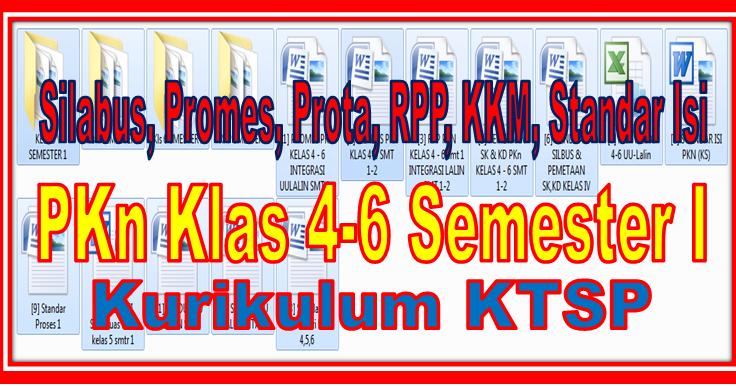 Download Prota Promes Silabus Rpp Kkm Standar Isi Mapel Pkn Kelas 4 6 Kurikulum Sd Ktsp