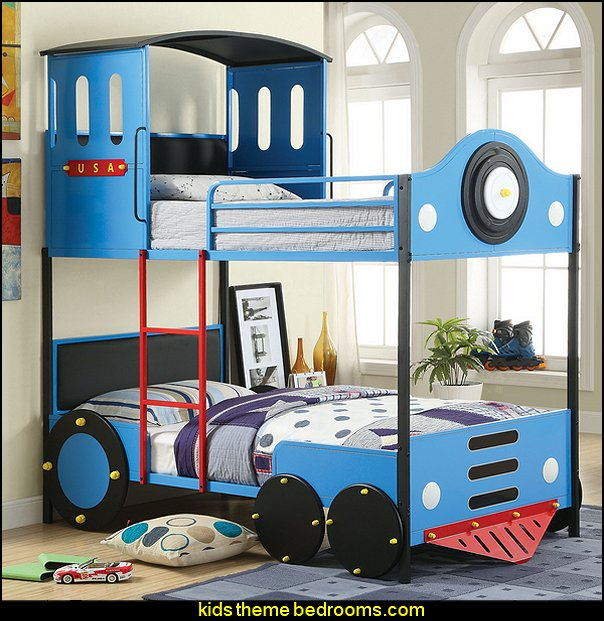 Train Locomotive Metal Youth Bunk Bed  Train themed bedroom decorating ideas - boys bedroom train theme decor - train themed beds - train themed furniture - train theme bedding - train theme decorations - Thomas the tank bedroom - Thomas the tank theme bed