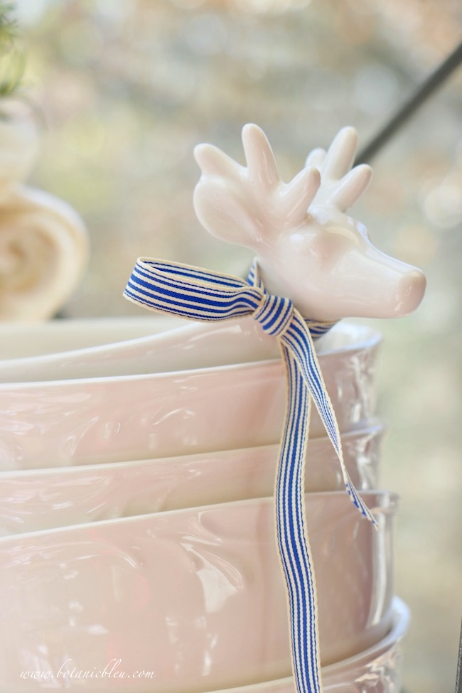 christmas white deer bowl blue white striped ribbon