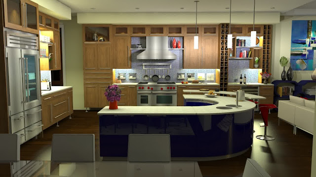 surprising kitchen layout ideas with blue curved kitchen island with breakfast bar and light wood kitchen cabinet