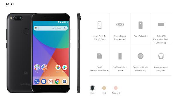 Harga dan Spesifikasi Xiaomi Mi A1 ( Android One )