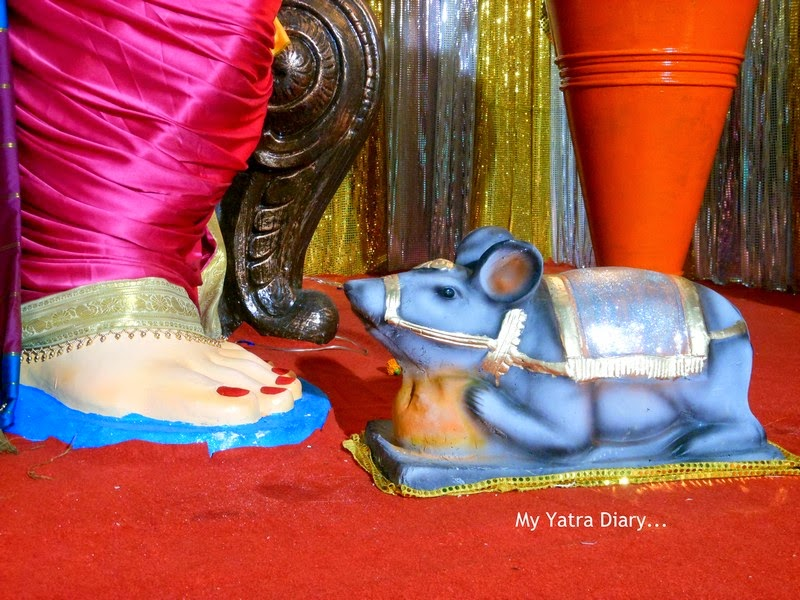 Ganesha and His vehicle Mouse at Mumbai Ganpati Pandal Hopping, during Ganesh Chaturthi festival