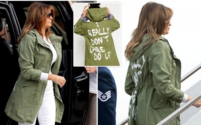 """I REALLY DON'T CARE, DO U?"" Melania Trump jacket. PYGear.com"