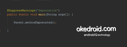 Warning dari method yang deprecated hilang Annotations Java