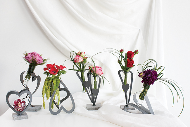 Industrial Chic Bud Vase Stands for Valentine's Day by Accent Decor