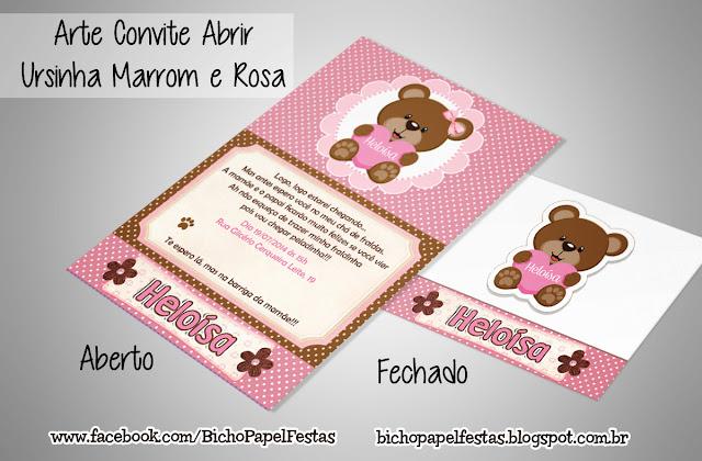 Arte Convite Abrir Ursinha Marrom e Rosa