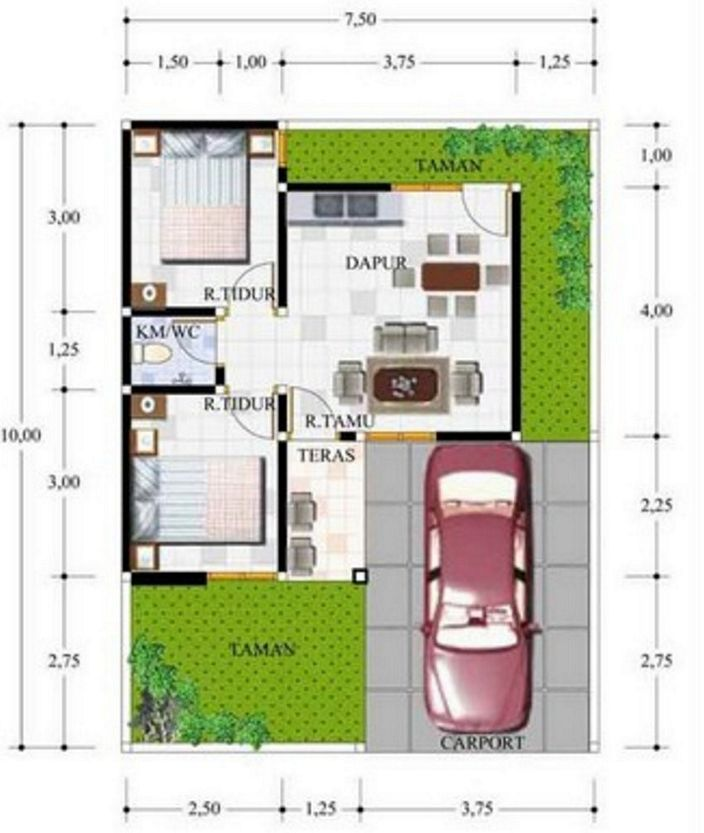 denah rumah minimalis type 21 minimalis