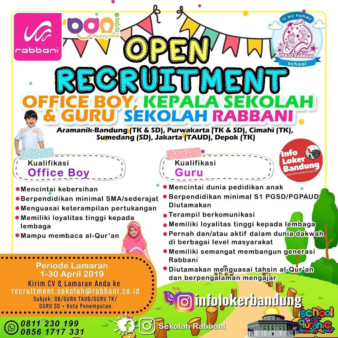 Lowongan Kerja Sekolah Robbani Bandung April 2019
