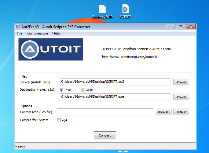 Defeating  au3 obfusticated Malware
