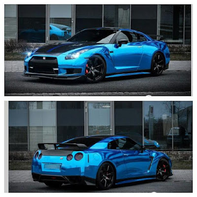 Blue Color Chrome Nissan Godzilla GTR R35